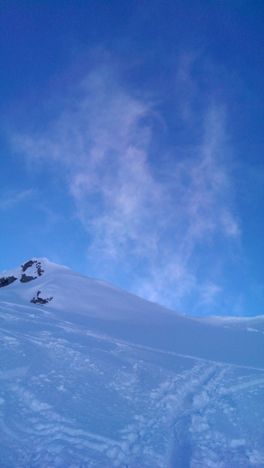 Schneegestöber am Gipfelgrad